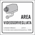 CARTELLO AREA VIDEOSORVEGLIATA DIM=120x120mm, NORMATIVA PRIVACY, ADESIVO